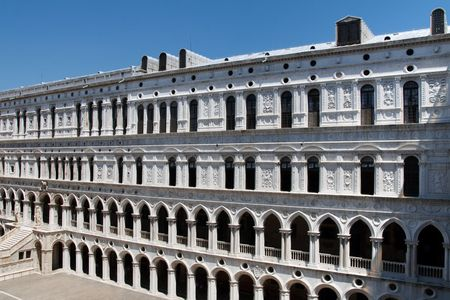 doges  palace: The famous Palazzo Ducale (Doges Palace) at Piazza San Marco (St. Marks Square) in Venice, Italy.