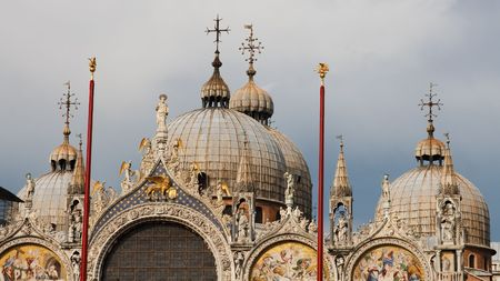 The domes of the famous Basilica di San Marco (St. Marks Cathedral) at Piazza San Marco (St. Marks Square) in Venice, Italy.