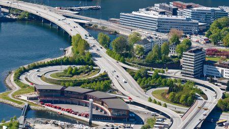 Highway  Freeway Interchange of a Multiple Lane Highway in Bergen, Norway