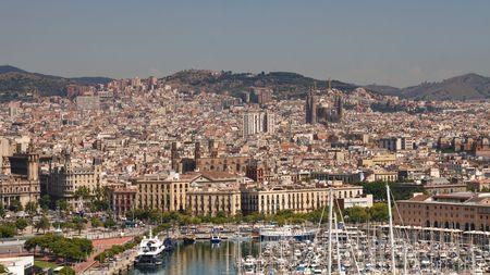 sagrada: View of Barcelona, Spain, and Antonio Gaudis Sagrada Familia Cathedral Stock Photo