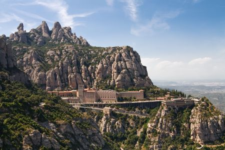 catalonia: Montserrat Monastery is a spectacularly beautiful Benedictine Abbey high up in the mountains near Barcelona, Catalonia, Spain. Stock Photo
