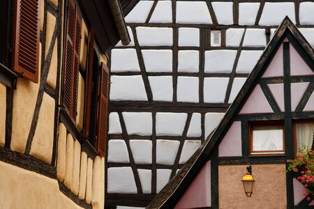 fachwerk: Detailed View of Traditional Half-Timbered Architecture in the Town of Ribeauville, Alsace, France