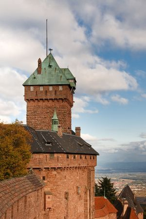 fortified: Castle of Haut-Koenigsbourg, Alsace, France. Stock Photo