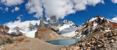 Panoramic View of Cerro Fitz Roy & Laguna de los Tres, Los Glaciares National Park, El Chalten, Patagonia, Argentina photo