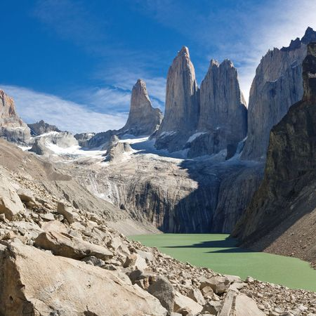 pinnacle: The Three Towers at Torres del Paine National Park, Patagonia, Chile. View from Mirador de Las Torres. Stock Photo
