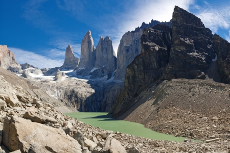 puerto natales: The Three Towers at Torres del Paine National Park, Patagonia, Chile. View from Mirador de Las Torres. Stock Photo