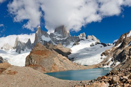 los glaciares: Mount Fitzroy & Laguna de los Tres, Parco Nazionale Los Glaciares, El Chalten, Patagonia, Argentina Archivio Fotografico