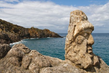 bretagne: Les Rochers Sculptes (Sculptures) in Rotheneuf, Saint-Malo, Brittany, France.