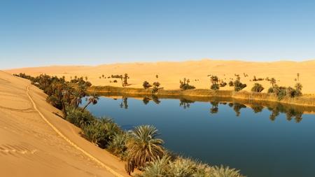 Umm al-Ma lac - oasis idyllique dans la mer de sable Awbari, d�sert du Sahara, Libye Banque d'images