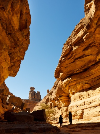 libyan: Tashwinet Gorge - Narrow Canyon - Akakus (Acacus) Mountains, Sahara, Libya