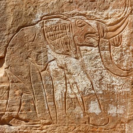 Prehistoric Rock Engraving of an Elephant  photo