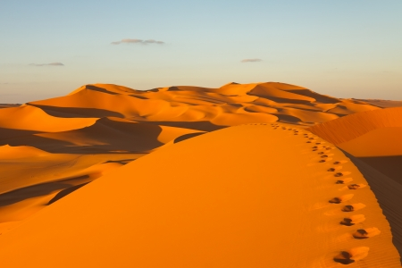 Footprints in the sand dunes at sunset - Murzuq Desert, Sahara, Libya photo