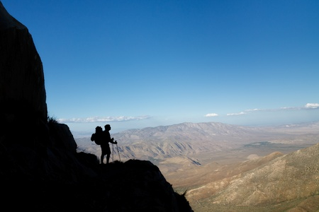 Silhouette of a hiker viewing Anza-Borrego Desert State Park, Southern California, USA photo