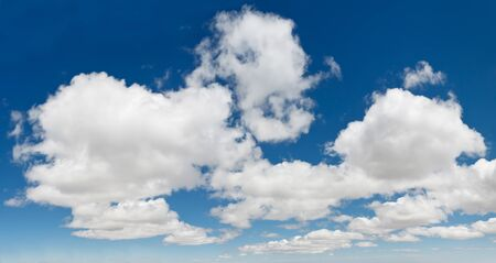 xxxl: XXXL panorama of deep blue sky with dramatic white clouds Stock Photo