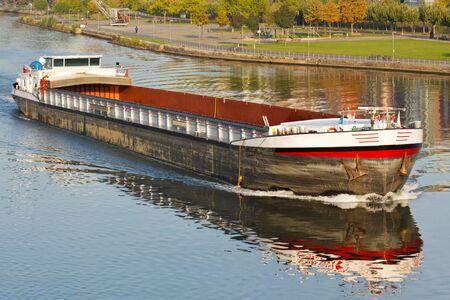 Empty cargo ship on Main River, Germany Stock Photo - 10749327
