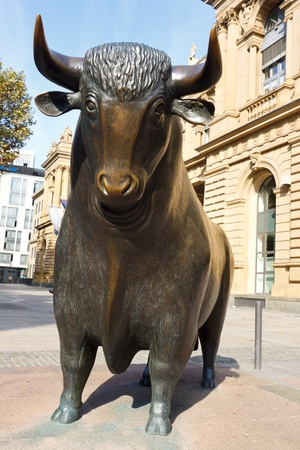 Bull market - the bull symbolizes booming financial markets.