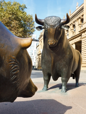 The struggle between bulls and bears symbolizing rising or falling financial markets.