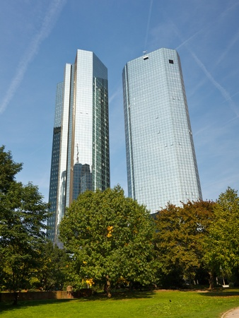 Modern skyscrapers - The Deutsche Bank Twin Towers in Frankfurt am Main, Germany