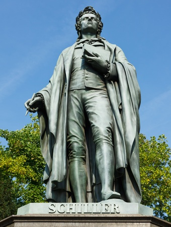 historian: Statue of Johann Christoph Friedrich von Schiller, a German poet, philosopher, historian and playwright