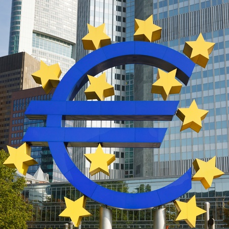 european exchange: Close-up of Euro Symbol at the European Central Bank (ECB) in Frankfurt, Germany. Stock Photo