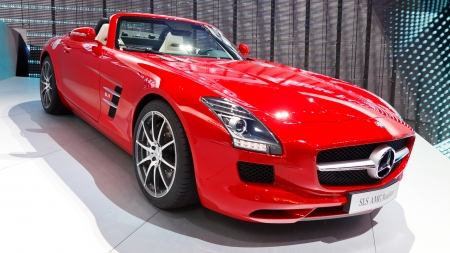 FRANKFURT - SEP 24: Mercedes-Benz SLS AMG Roadster shown at the 64th IAA Motor Show (Internationale Automobil-Ausstellung) in Frankfurt, Germany, on September 24, 2011.