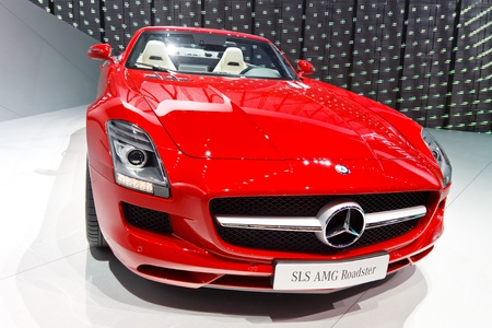 64th iaa: FRANKFURT - SEP 24: Mercedes-Benz SLS AMG Roadster shown at the 64th IAA Motor Show (Internationale Automobil-Ausstellung) in Frankfurt, Germany, on September 24, 2011.