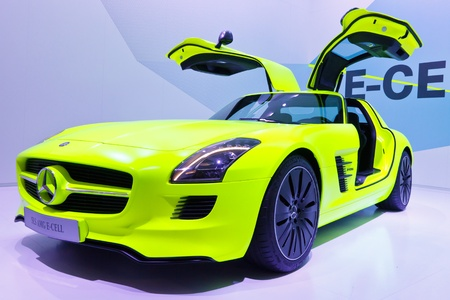 64th iaa: FRANKFURT - SEP 24: Mercedes-Benz SLS AMG E-CELL shown at the 64th IAA Motor Show (Internationale Automobil-Ausstellung) in Frankfurt, Germany, on September 24, 2011.