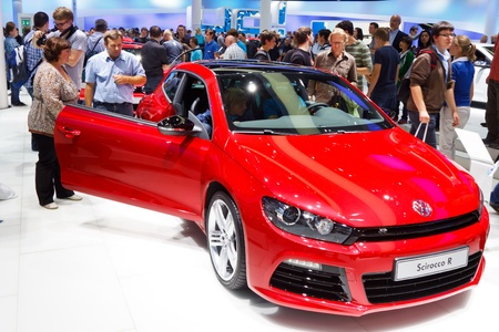 64th iaa: FRANKFURT - SEP 24: Volkswagen Scirocco R shown at the 64th IAA Motor Show (Internationale Automobil-Ausstellung) in Frankfurt, Germany, on September 24, 2011.