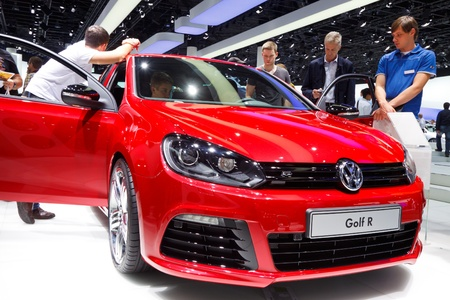 64th iaa: FRANKFURT - SEP 24: Volkswagen Golf R shown at the 64th IAA Motor Show (Internationale Automobil-Ausstellung) in Frankfurt, Germany, on September 24, 2011.