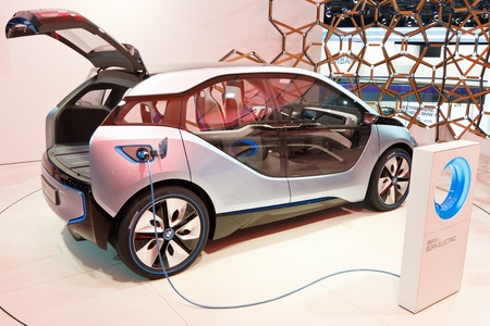 i3: FRANKFURT - SEP 24: BMW i3 Concept car shown at the 64th IAA Motor Show (Internationale Automobil-Ausstellung) in Frankfurt, Germany, on September 24, 2011.