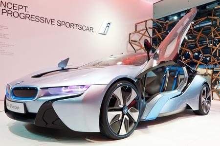 iaa: FRANKFURT - SEP 24: BMW i8 Concept car shown at the 64th IAA Motor Show (Internationale Automobil-Ausstellung) in Frankfurt, Germany, on September 24, 2011. Editorial