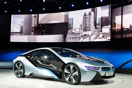 FRANKFURT - SEP 24: BMW i8 Concept car shown at the 64th IAA Motor Show (Internationale Automobil-Ausstellung) in Frankfurt, Germany, on September 24, 2011. Editorial