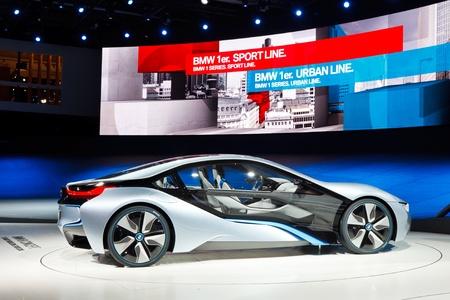 64th iaa: FRANKFURT - SEP 24: BMW i8 Concept car shown at the 64th IAA Motor Show (Internationale Automobil-Ausstellung) in Frankfurt, Germany, on September 24, 2011. Editorial