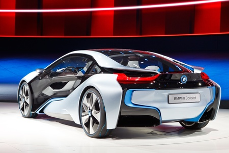 motor show: FRANKFURT - SEP 24: BMW i8 Concept car shown at the 64th IAA Motor Show (Internationale Automobil-Ausstellung) in Frankfurt, Germany, on September 24, 2011. Editorial