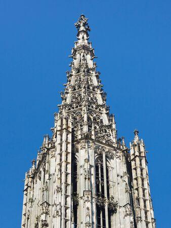 church steeple: Top of Ulm Minster  Cattedrale (Ulmer Muenster), a Ulm, in Germania, campanile pi� alto del mondo chiesa.