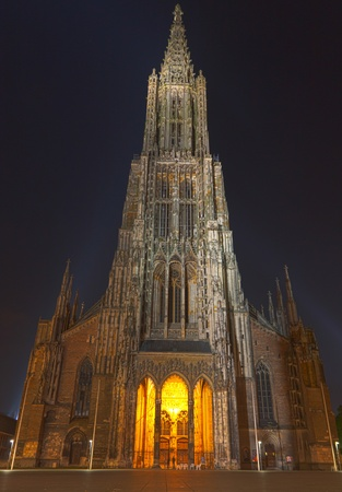 Ulm Minster  Cathedral (Ulmer Muenster), in Ulm, Germany, the worlds tallest church at night. photo