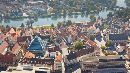 ULM, GERMANY - OCT 1, 2011: The historic Fischerviertel and Danube River in Ulm, Germany, on October 1, 2011. View from the top of Ulm Minster, the worlds tallest church.