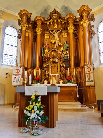 Altar and High Altar (Hochaltar) in a Baroque Church in Germany.