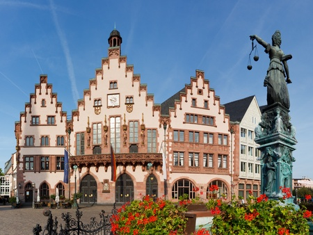 FRANKFURT - SEP 24, 2011: The Roemer in Frankfurt, Germany, on September 24, 2011. The medieval building is one of the citys most important landmarks and has been the city hall (Rathaus) for 600 years. Editorial