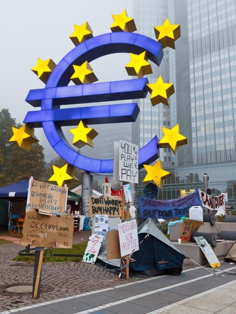 occupy movement: FRANKFURT - OCT 21: The protest camp of the Occupy Frankfurt movement at the European Central Bank in Frankfurt, Germany, on October 21, 2011. It is part of the global Occupy Wall Street movement.