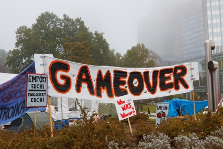occupy wall street: FRANKFURT - OCT 21: The protest camp of the Occupy Frankfurt movement at the European Central Bank in Frankfurt, Germany, on October 21, 2011. It is part of the global Occupy Wall Street movement.