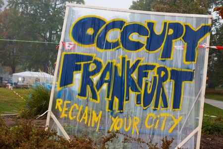 99: FRANKFURT - OCT 21: The protest camp of the Occupy Frankfurt movement at the European Central Bank in Frankfurt, Germany, on October 21, 2011. It is part of the global Occupy Wall Street movement.