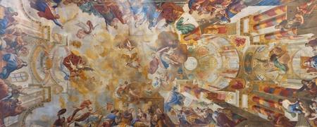 Elaborate ceiling frescos at baroque church in Biberach, Germany.