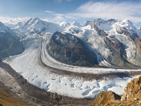 valais: The Gorner Glacier (Gornergletscher) in Switzerland is the second largest glacier in the Alps.