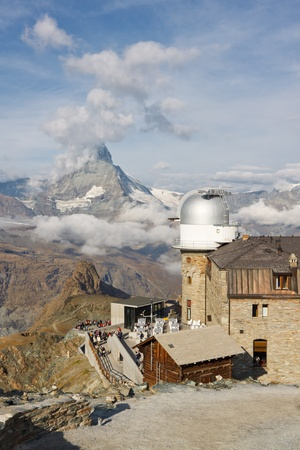 Observatory at Gornergrat Summit with view of Matterhorn, Switzerland. photo