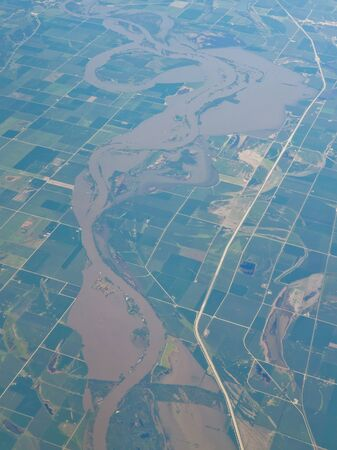 farmlands: Aerial view of the Missouri River along Interstate 29 in Iowa, USA.