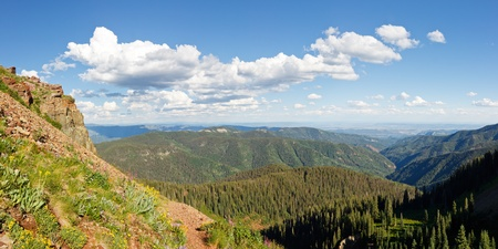 san juans: Panorama of the San Juan Mountains along the Colorado Trail near Durango. Stock Photo