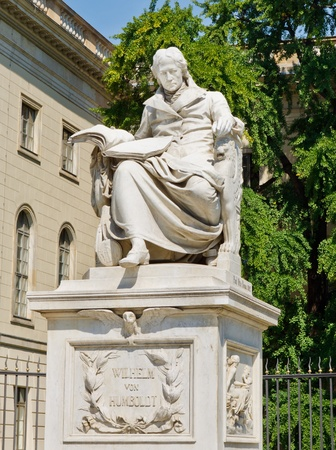 linguist: Statue of Wilhelm von Humboldt in Berlin, Germany. Humboldt was a German philosopher, government functionary, diplomat, linguist and founder of the Humboldt University in Berlin. Editorial