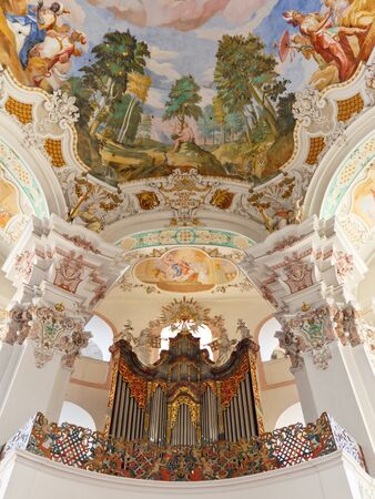 Pipe organ at baroque church in Steinhausen, Germany. Stock Photo - 11200475