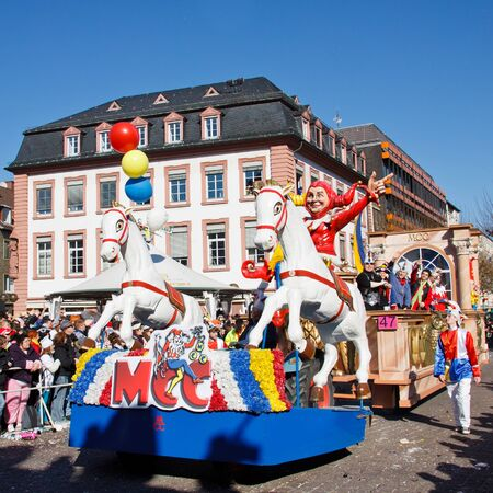 fasching: MAINZ, GERMANY - MARCH 7: The Rose Monday Parade (Rosenmontagszug) moves through the city March 7, 2011 in Mainz, Germany. It is the culmination of the annual carnival season. Editorial